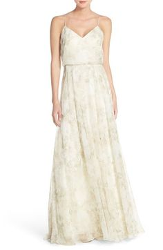 Jenny Yoo 'Inesse' Print Chiffon V-Neck Sleeveless Gown available at #Nordstrom