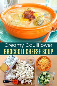 Cauliflower Broccoli Cheese Soup - this rich and creamy soup recipe gets a low carb and gluten free makeover by thickening it with cauliflower! You won't believe how easy and delicious it is! Cauliflower And Broccoli Cheese, Creamy Cauliflower, Broccoli Cheddar, Cauliflower Recipes, Cheap Clean Eating, Clean Eating Snacks, Soup Recipes, Healthy Recipes, Free Recipes