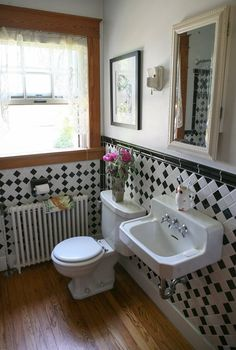 "Gail & Chil's ""Dead Grandmother"" Style. To see more of this creative bathroom, check out their home tour. They did a super job of recreating the vintage look."