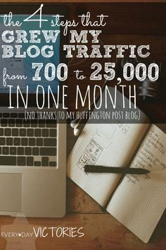 Even as a Huff Po blogger I struggled to get blog traffic. But then, in 1 month I implemented these 4 steps and my traffic blog instantly grew from 700 to 25,000. I learned how to blog better! Because I love blogging!