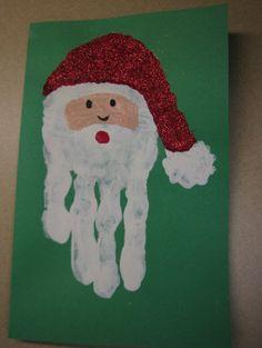 Hand Print Santa Card Christmas Family Feud, Christmas Handprint Crafts, Santa Crafts, Preschool Christmas, Christmas Crafts For Kids, Christmas Projects, Kids Christmas, Holiday Crafts, Hand Print Christmas Cards