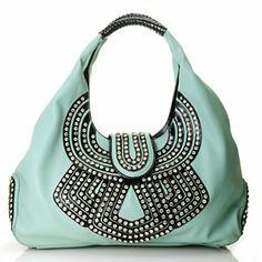 Bag Chique Rhinestone Embellished Double Handle Hobo Handbag