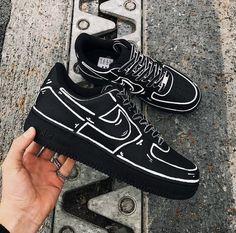 Cute Nike Shoes, Black Nike Shoes, Black Nikes, Blue Nike, Black Sneakers, Adidas Shoes, Custom Painted Shoes, Custom Shoes, Custom Sneakers