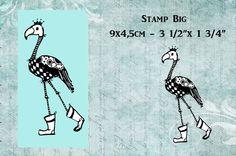 """Stempel  """"GROOT"""" flamingo met laarsjes en kroon van artistamps op DaWanda.com"""