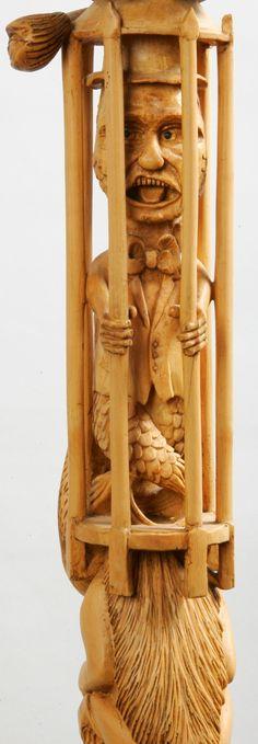 SCULPTURES BOIS: Sculpture en Buis, partie d' un Bâton, réalisée en taille directe (gouges & ciseaux) sans collage ni ajout... voir le Catalogue Canemania Paris 2008. Photo Marc de Fromon & Sculpture Pierre Damiean. Voir le Site: www.pierdam.fr