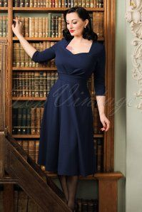 50s Ruby Swing Dress in Navy