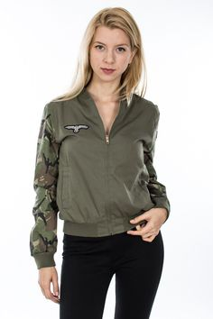 Lightweight Air Force Camouflage Sleeve Bomber Jacket in Olive