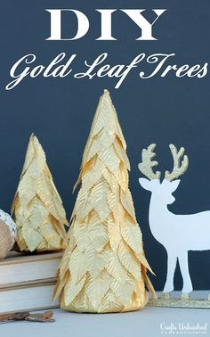 DIY Gold Leaf Holiday Tree Decor Tutorial - CraftsUnleashed.com