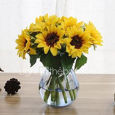 6 Branch Silk Sunflowers Artificial Flowers - USD $5.94 ! HOT Product! A hot product at an incredible low price is now on sale! Come check it out along with other items like this. Get great discounts, earn Rewards and much more each time you shop with us!