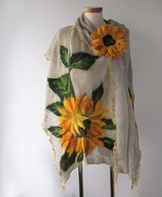Linen shawl knit jersey felted aplication Sunflower by galafilc