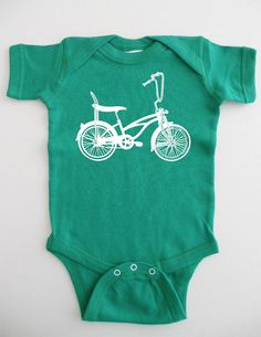 Bike Baby Onesie Green Retro Bicycle by countercouturedesign, $18.00