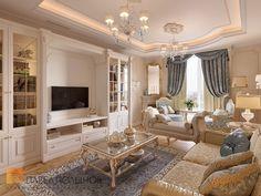Фото дизайн гостиной из проекта «Дизайн трехкомнатной квартиры 126 кв.м. в классическом стиле с винтажными элементами, ЖК «Пять звёзд»»