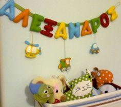 felt handsticthed name garland Felt Name, Garlands, Kids Room, Toys, Decor, Wreaths, Activity Toys, Room Kids, Decoration