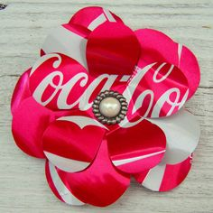 how cute are THESE? - sz Recycled Soda Can Metal Flower Pin / Brooch  Coke by TheRecyclePin, $6.50