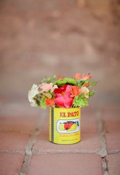 Flowers in cans.... so easy and cute!!