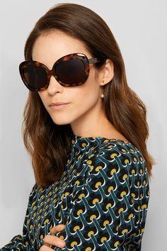 db4ba172253 Linda Farrow - Oversized square-frame acetate and gold sunglasses