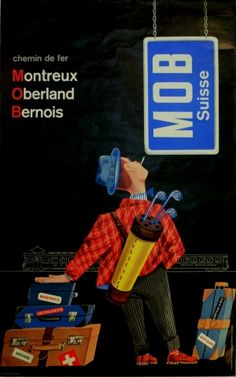 Montreux Oberland Bernois, 1960s - original vintage poster by Klaus Felder listed on AntikBar.co.uk