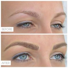 Feathered eyebrow permanent makeup. I'm not sure that I could trust someone to do this permanently, but with henna ink I think this would be awesome to try!