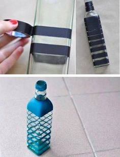 to Paint Wine Bottles How to Paint Wine Bottles Pintura em Vidro – Aprenda Como Decorar Potes e Garrafas Painted Glass Bottles, Glass Bottle Crafts, Wine Bottle Art, Diy Bottle, Decorated Bottles, Diy With Glass Bottles, Decorative Glass Bottles, How To Paint Glass, Glitter Wine Bottles