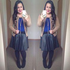 Cobalt tee leopard cardigan leather skirt tassel necklace modest winter fashion Instagram user @melbella14 Cute Skirt Outfits, Modest Outfits, Modest Fashion, Leopard Cardigan, Short Skirts, Winter Style, Instagram Fashion, Cobalt, Tassel Necklace