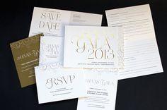 Haas Gala invitation suite    Jody Worthington. Gold foil and metallic ink.