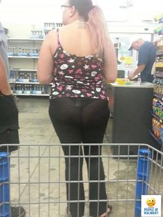 53e7e1c436c Butt Eating Underwear and Black See Through Yoga Pants - People of Walmart  Fail  God woman go home and get yourself a conservative outfit.