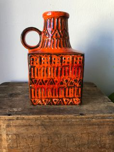Excited to share this item from my shop: Bay Pottery 7117 West Germany vase WGP fat lava Glazed Ceramic, Ceramic Vase, Hand Carved, Hand Painted, Scandinavian Folk Art, Plate Sets, Lava, I Shop, Pop Art