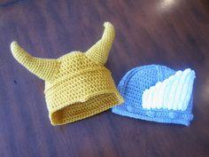 A Chick w/ Sticks Thor & Loki Beanies Free pattern  CUTE!
