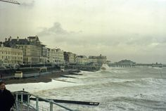 Eastbourne seafront during a storm - mid-1960s