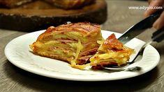 Cartofi la cuptor inveliti in bacon cu sunca si cascaval - Adygio Kitchen Bacon, French Toast, Breakfast, Food, Morning Coffee, Essen, Meals, Yemek, Pork Belly