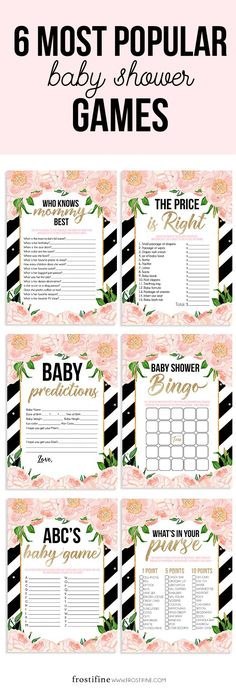 Black and white stripe baby shower games with gold glitter details and blush pink flowers, baby shower decorations, DIY baby shower, baby shower decorations and more printables made to match your baby shower theme.