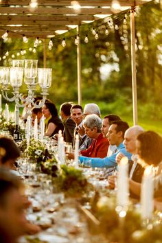 Guests enjoying dinner. Farm Wedding, Modern Farmhouse, Real Weddings, Gardens, Table Decorations, Dinner, Photography, Dining, Photograph