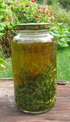 Thyme Tincture, used to clear respiratory congestion and sore throats. Pour apple cider vinegar over the thyme and leave in a dark place for two weeks. Use 10-20 drops in a glass of water, up to 3 times a day, especially before bed.