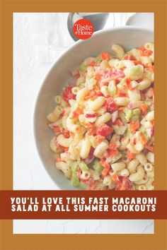 Chopped veggies provide crunch, and cherry tomatoes add vibrant color to this refreshing and creamy pasta salad. —Frankiee Bush, Freedom, Indiana Potluck Recipes, Salad Recipes, Pasta With Mayonnaise, Creamy Pasta Salads, Potluck Salad, Macaroni Salad, Cucumber Salad, Coleslaw, Summer Salads
