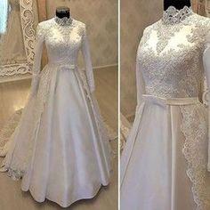 Panina Wedding Dresses, Muslimah Wedding Dress, Muslim Wedding Dresses, Bridal Dresses, Wedding Abaya, Hijabi Wedding, Bridal Hijab, White Lace Wedding Dress, Cheap Wedding Dress