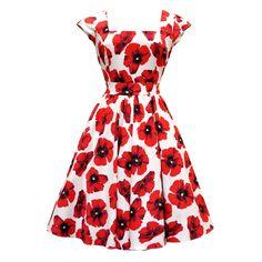 Poppy Shop Red Poppy on White Swing Dress