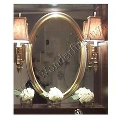"Silver Leaf Oval Vanity Wall Mirror Bathroom Champagne 31"" Clean Lines New"