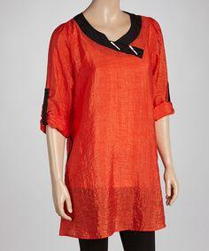 Another great find on #zulily! Orange & Black Trim Roll-Tab Sleeve Tunic - Plus #zulilyfinds