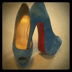 Authentic Suede Louboutin Highness 160, very high 6 inch heel with 2inch platform. Reposhing because they were too big. Im usually 39 (8.5 US) in CL peeps, but these fit too loose and may be better for US 9. They did not come with box or bag. Christian Louboutin Shoes Heels