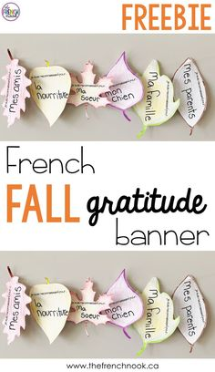 free French fall gratitude banner. #frenchactivities #frenchteacher #fsl French Teaching Resources, Teaching French, Gratitude, French Education, Free French, French Classroom, French Teacher, French Lessons, Girls Club