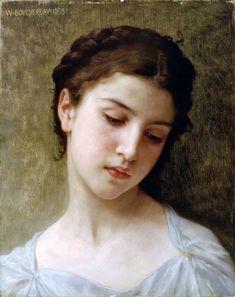 William Adolphe Bouguereau >> Cabeça estudo de uma menina     (óleo, obra, reprodução, cópia, pintura).