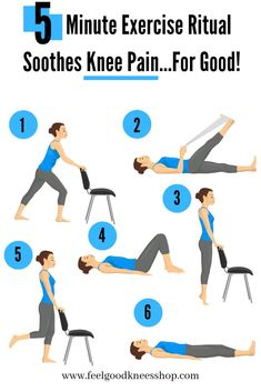 Say GOODBYE to knee pain with this 5 minute exercise ritual good for anyone with bad knees or a knee injury. Get back to doing what you LOVE and livin… – Yoga Club Knee Strengthening Exercises, Knee Stretches, Exercises For Knee Injuries, Knee Physical Therapy Exercises, Exercises For Arthritic Knees, Torn Meniscus Exercises, Knee Injury Workout, Training Exercises, Knee Arthritis Exercises