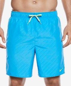 "Nike Men's Embossed Volley Swim Trunks,7"" - Blue XXL"