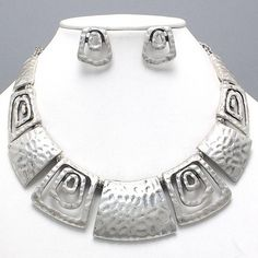 Contemporary Design Burnish Silver Statement Necklace Earrings Fashion Jewelry