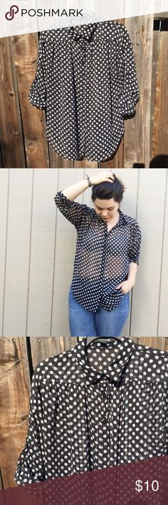 ⭐️4/$25⭐️ Black and white polka dot Blouse ⭐️4/$25⭐️ Cuffed or Long Sleeve detail! Forever 21 Tops Blouses