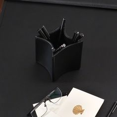 Global Views Folded Leather Pencil Cup Black