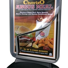 A large format poster display forecourt sign with water fillable base. Chorizo Sausage, Angus Beef, Large Format, Pavement, Spicy, Grilling, Meals, Signs, Cover