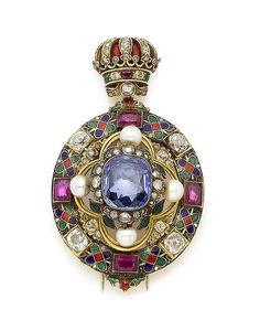 An enamel, pearl and gem-set Holbeinesque brooch, circa 1870 #antiquejewelry #joyasantiguas