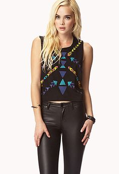 Tribal Print Muscle Tee | FOREVER21 - 2056662495