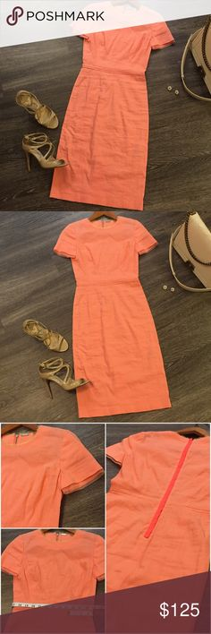 """✨HP✨ NWT ELIE TAHARI Linen Dress, Size 0 ✨HP 2/26/17✨NWT Classy and sophisticated Elie Tahari linen dress in a gorgeous light coral color. Perfect for the spring/summer due to its lightweight linen fabric and feminine shear lace/mesh detail at sleeves, neck, and waistline. Looks amazing paired with neutral shoes and accessories!! Dress comes in original clear plastic bag with RueLala tags (no actual tag on dress). Approx 39"""" in length. I hate to let this dress go but it's too small for me…"""